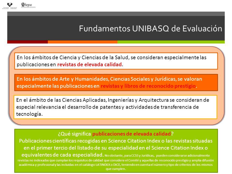 Fundamentos UNIBASQ de Evaluación En los ámbitos de Ciencia y Ciencias de la Salud, se consideran especialmente las publicaciones en revistas de eleva