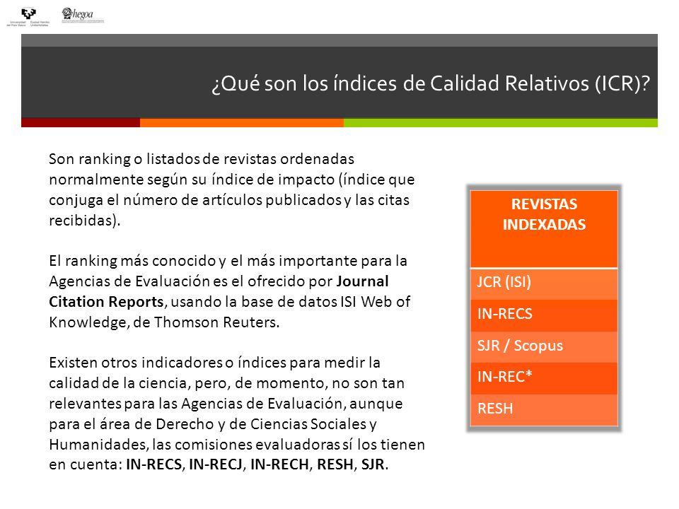 ¿Qué son los índices de Calidad Relativos (ICR)? Son ranking o listados de revistas ordenadas normalmente según su índice de impacto (índice que conju