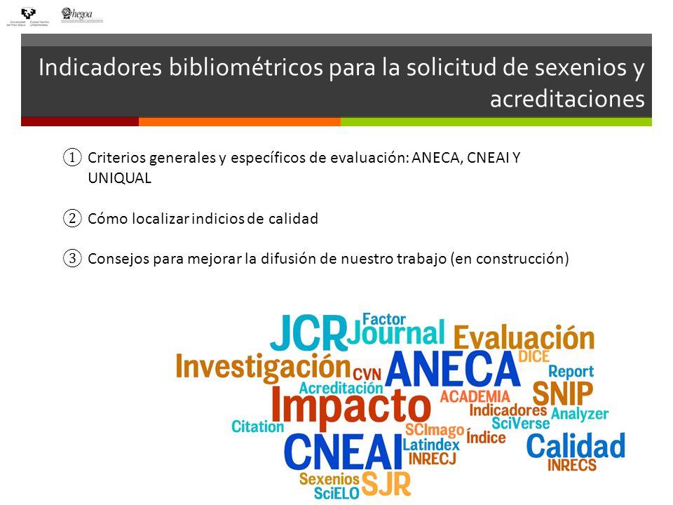 Indicadores bibliométricos para la solicitud de sexenios y acreditaciones Criterios generales y específicos de evaluación: ANECA, CNEAI Y UNIQUAL Cómo
