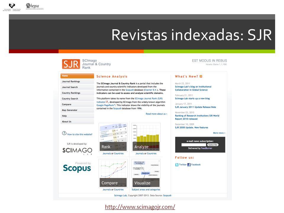 Revistas indexadas: SJR http://www.scimagojr.com/