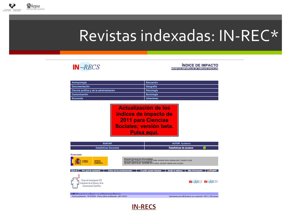 Revistas indexadas: IN-REC* IN-RECS