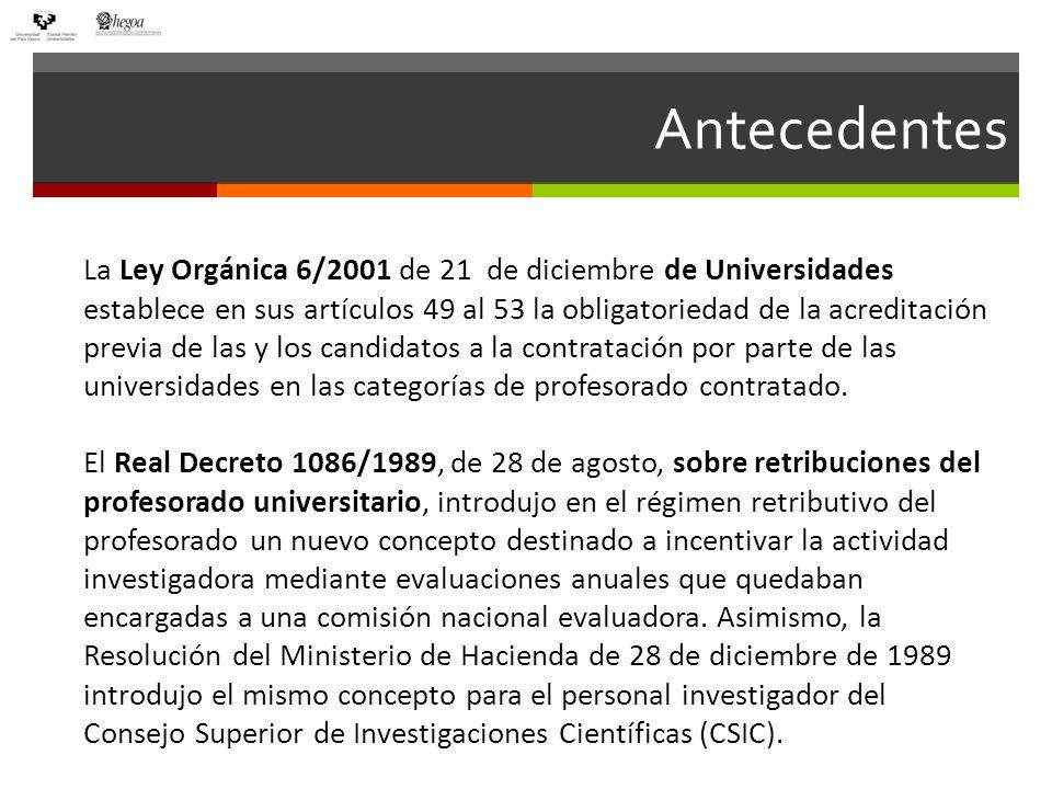 Antecedentes La Ley Orgánica 6/2001 de 21 de diciembre de Universidades establece en sus artículos 49 al 53 la obligatoriedad de la acreditación previa de las y los candidatos a la contratación por parte de las universidades en las categorías de profesorado contratado.