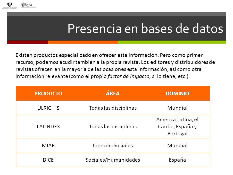 Presencia en bases de datos Existen productos especializado en ofrecer esta información. Pero como primer recurso, podemos acudir también a la propia