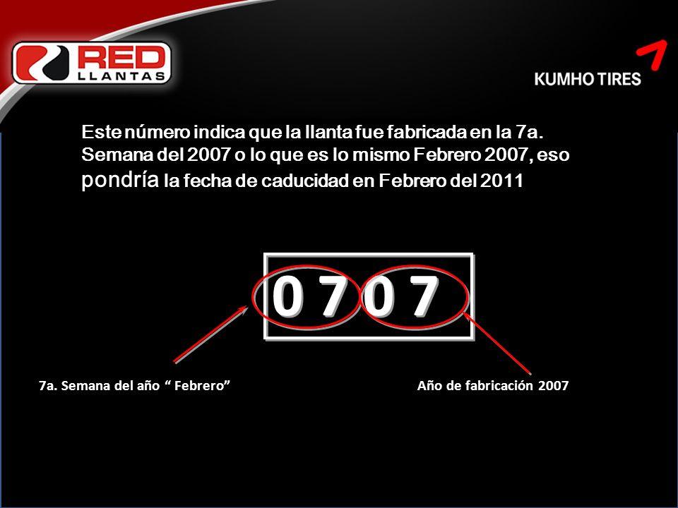 Este número indica que la llanta fue fabricada en la 7a.