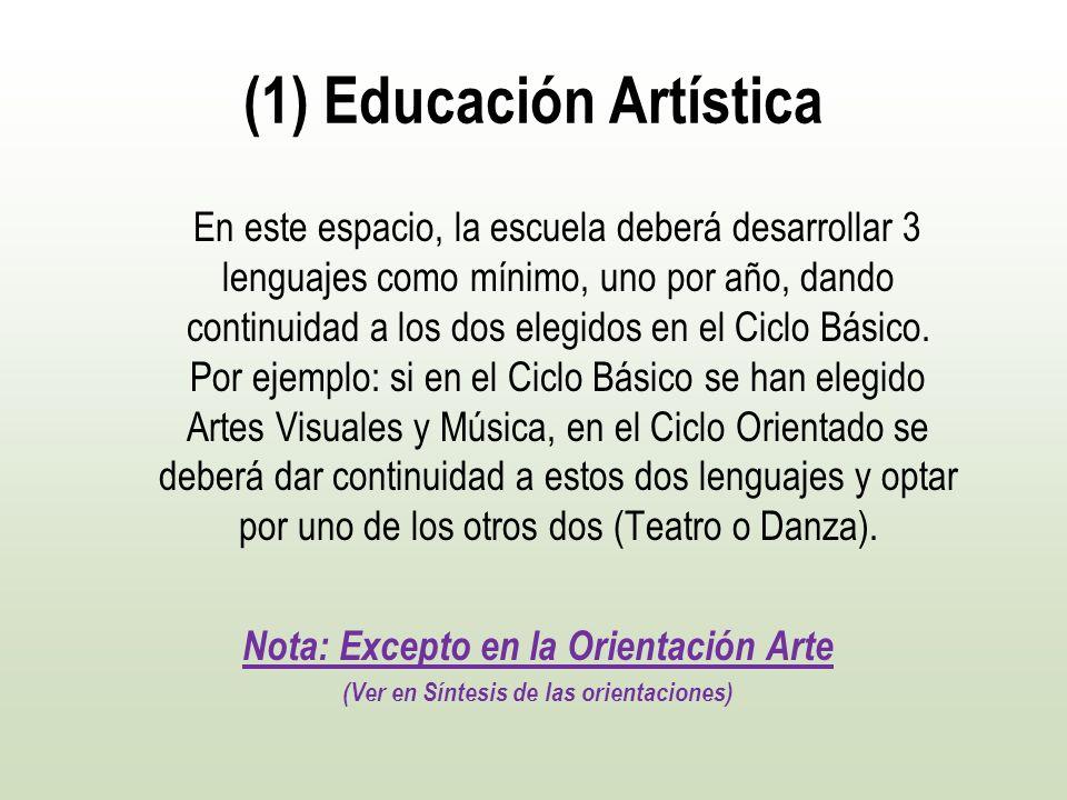 (1) Educación Artística En este espacio, la escuela deberá desarrollar 3 lenguajes como mínimo, uno por año, dando continuidad a los dos elegidos en e