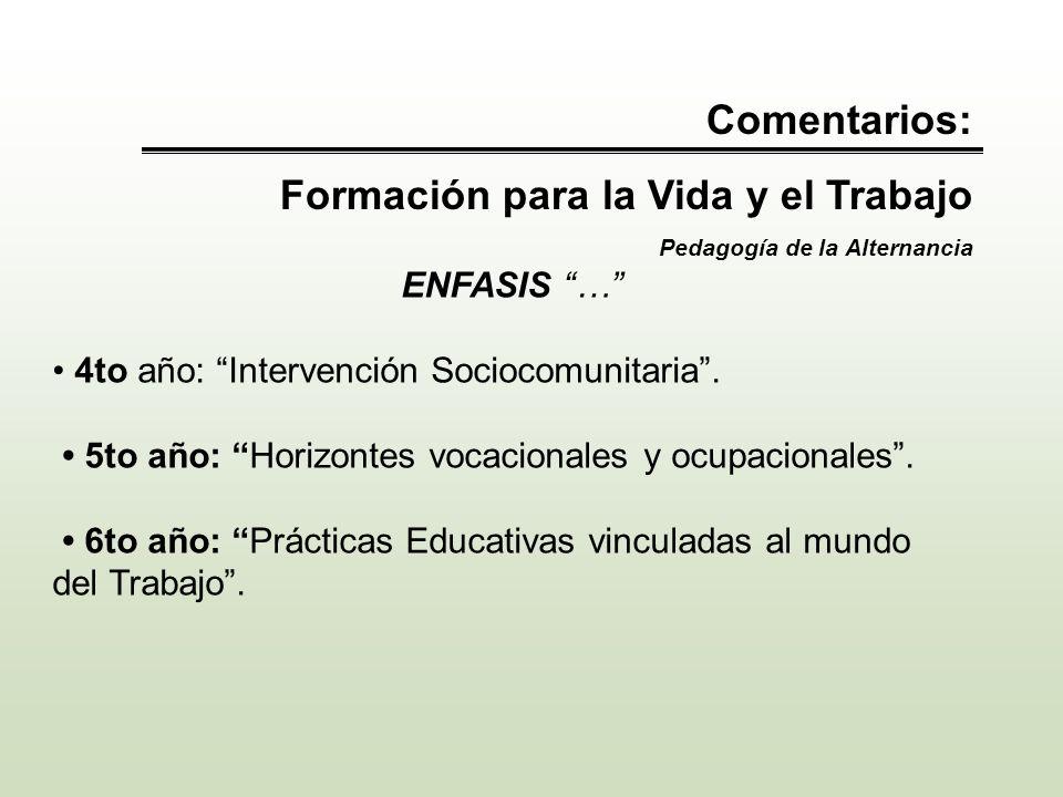 Comentarios: Formación para la Vida y el Trabajo Pedagogía de la Alternancia ENFASIS … 4to año: Intervención Sociocomunitaria. 5to año: Horizontes voc