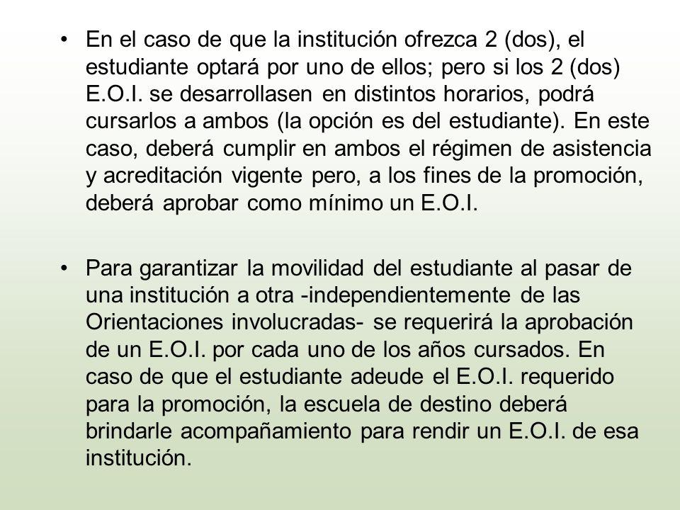 En el caso de que la institución ofrezca 2 (dos), el estudiante optará por uno de ellos; pero si los 2 (dos) E.O.I. se desarrollasen en distintos hora