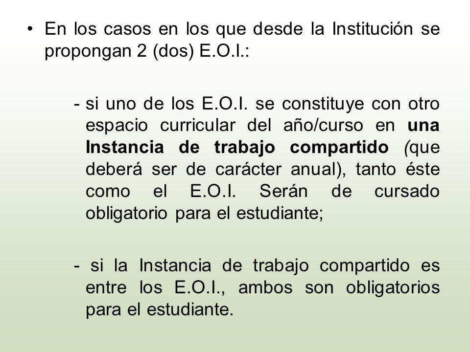 En los casos en los que desde la Institución se propongan 2 (dos) E.O.I.: -si uno de los E.O.I. se constituye con otro espacio curricular del año/curs