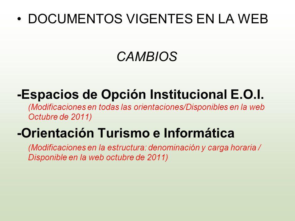 DOCUMENTOS VIGENTES EN LA WEB CAMBIOS -Espacios de Opción Institucional E.O.I. (Modificaciones en todas las orientaciones/Disponibles en la web Octubr
