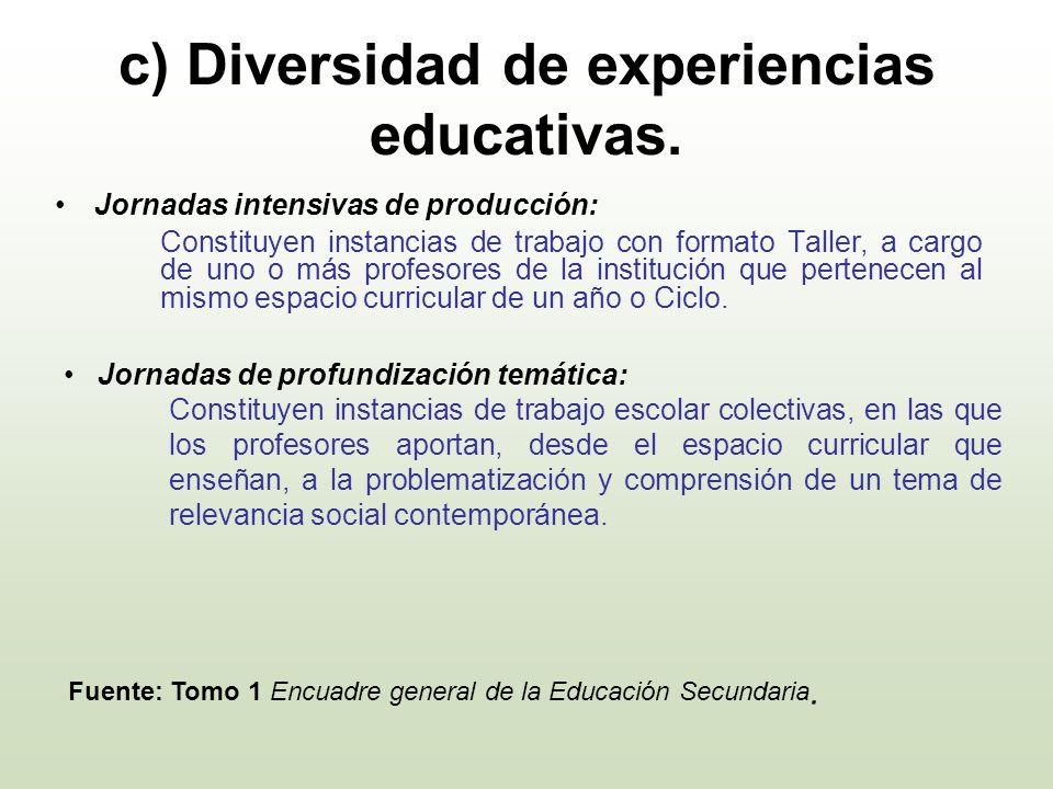c) Diversidad de experiencias educativas. Jornadas intensivas de producción: Constituyen instancias de trabajo con formato Taller, a cargo de uno o má