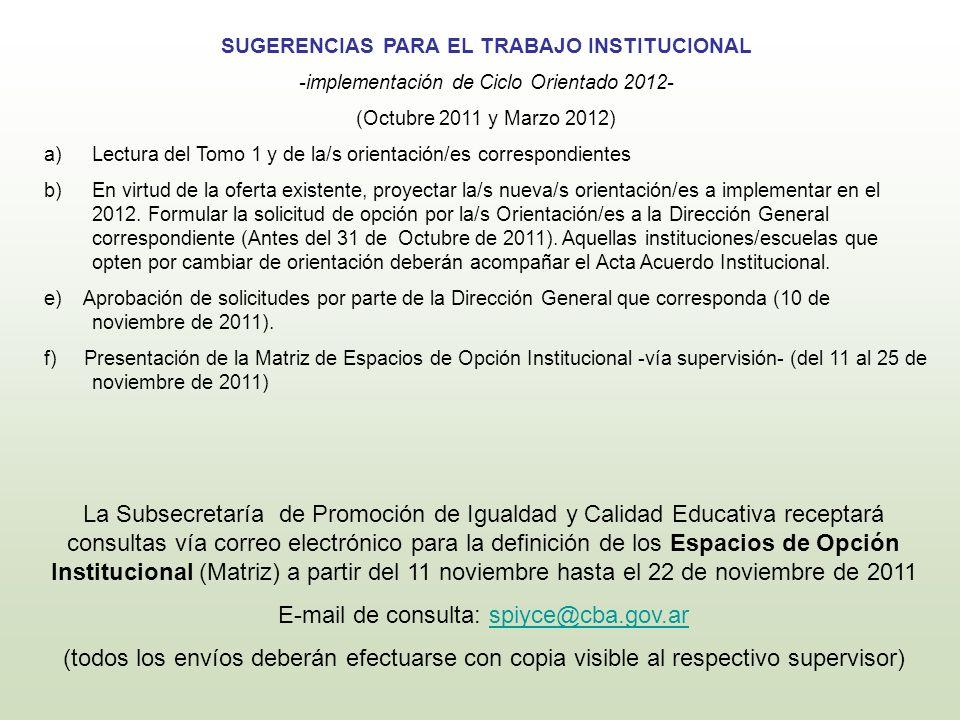 SUGERENCIAS PARA EL TRABAJO INSTITUCIONAL -implementación de Ciclo Orientado 2012- (Octubre 2011 y Marzo 2012) a)Lectura del Tomo 1 y de la/s orientac