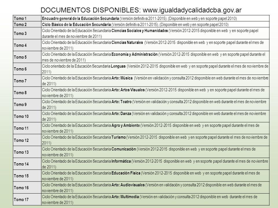 DOCUMENTOS DISPONIBLES: www.igualdadycalidadcba.gov.ar Tomo 1Encuadre general de la Educación Secundaria (Versión definitiva 2011-2015). (Disponible e