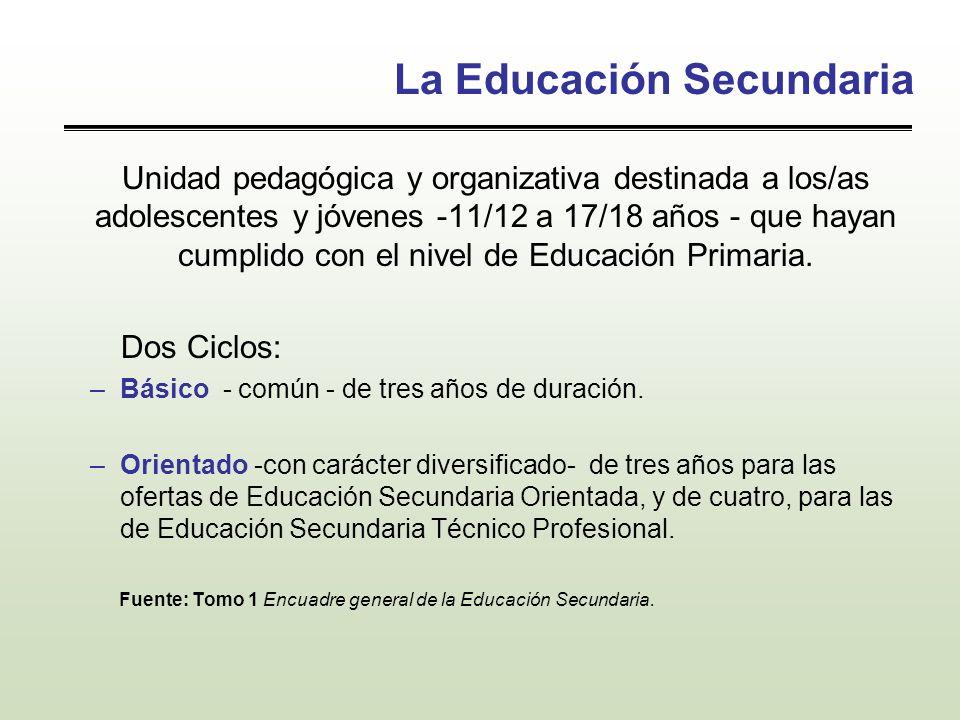La Educación Secundaria Unidad pedagógica y organizativa destinada a los/as adolescentes y jóvenes -11/12 a 17/18 años - que hayan cumplido con el niv