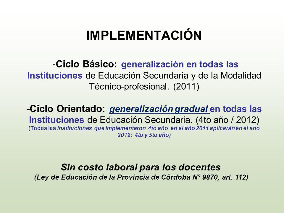 IMPLEMENTACIÓN -Ciclo Básico: generalización en todas las Instituciones de Educación Secundaria y de la Modalidad Técnico-profesional. (2011) - Ciclo