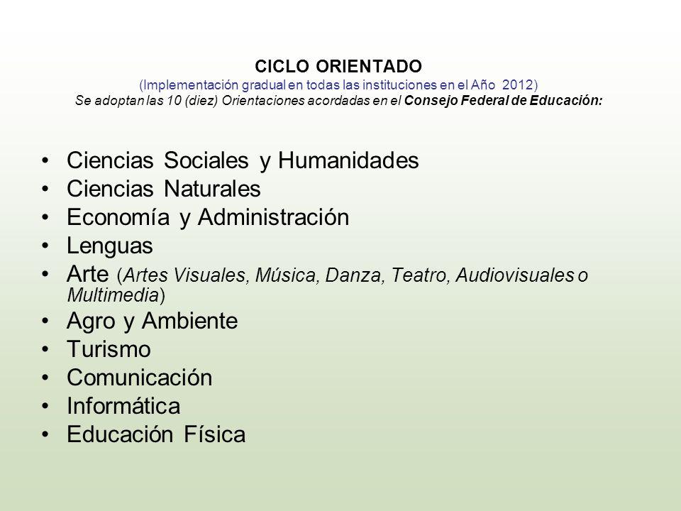 CICLO ORIENTADO (Implementación gradual en todas las instituciones en el Año 2012) Se adoptan las 10 (diez) Orientaciones acordadas en el Consejo Fede