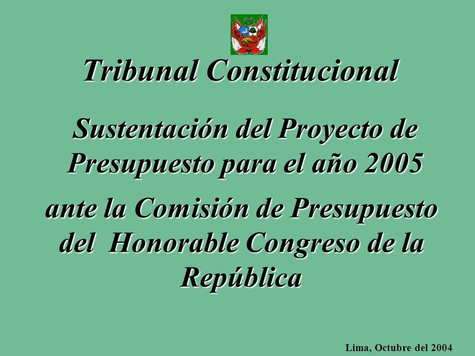 Sustentación del Proyecto de Presupuesto para el año 2005 Tribunal Constitucional ante la Comisión de Presupuesto del Honorable Congreso de la República Lima, Octubre del 2004