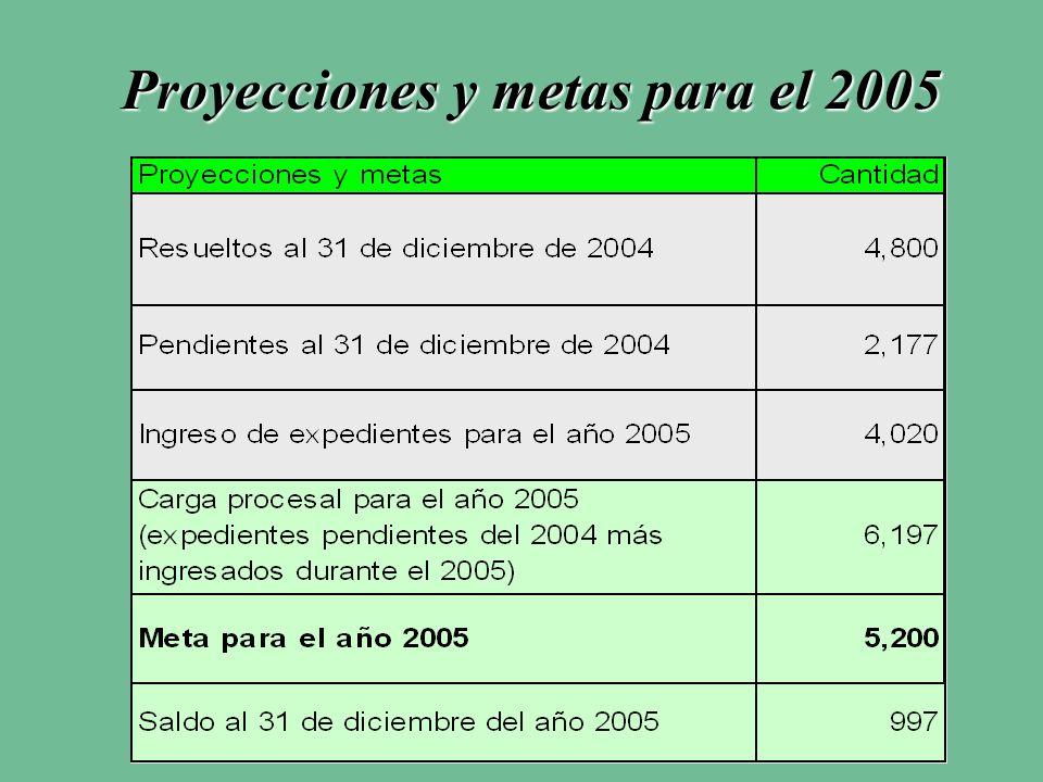 Proyecciones y metas para el 2005