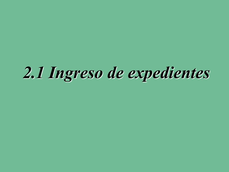 2.1 Ingreso de expedientes