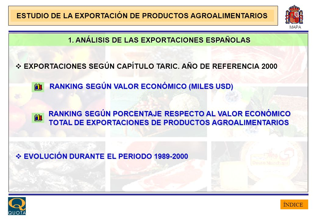 ÍNDICE MAPA 1. ANÁLISIS DE LAS EXPORTACIONES ESPAÑOLAS 1. ANÁLISIS DE LAS EXPORTACIONES ESPAÑOLAS EXPORTACIONES SEGÚN CAPÍTULO TARIC. AÑO DE REFERENCI