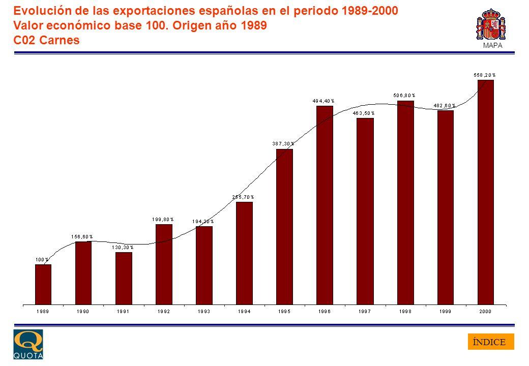 ÍNDICE MAPA Evolución de las exportaciones españolas en el periodo 1989-2000 Valor económico base 100. Origen año 1989 C02 Carnes