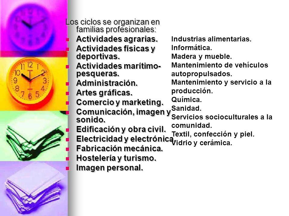 Los ciclos se organizan en familias profesionales: Actividades agrarias.