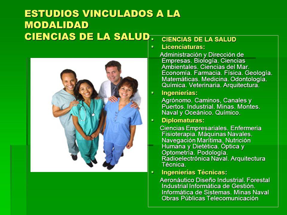 ESTUDIOS VINCULADOS A LA MODALIDAD CIENCIAS DE LA SALUD CIENCIAS DE LA SALUD CIENCIAS DE LA SALUD Licenciaturas: Licenciaturas: Administración y Dirección de Empresas.