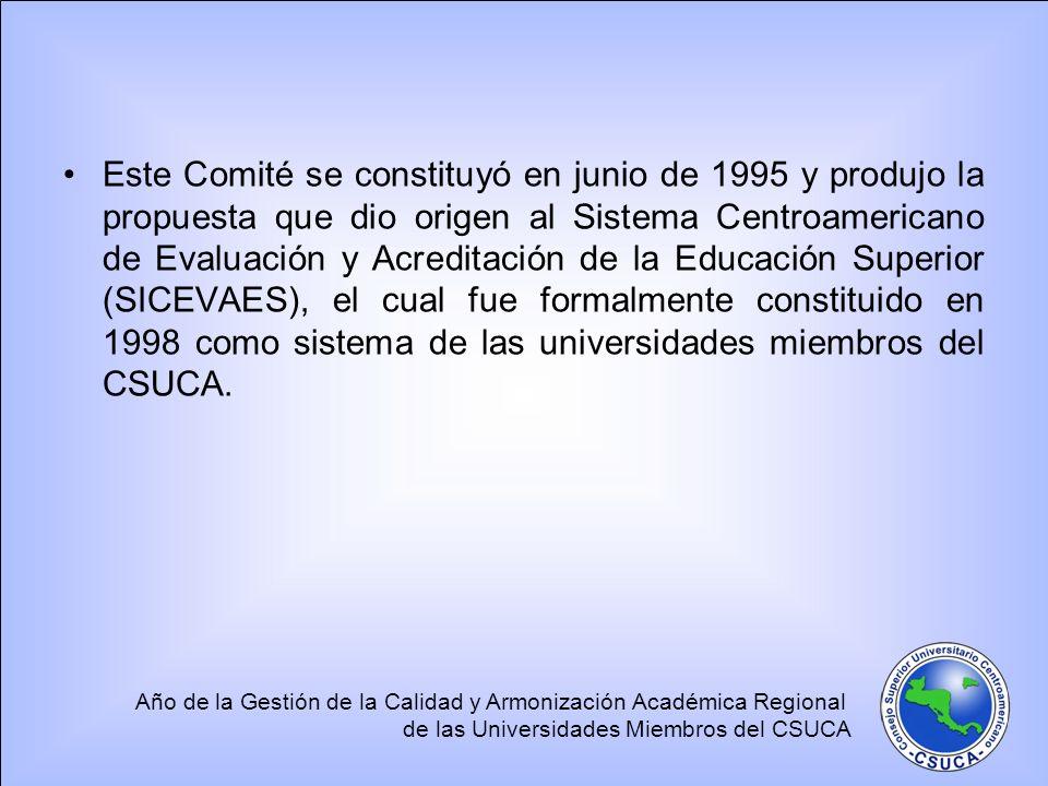 Año de la Gestión de la Calidad y Armonización Académica Regional de las Universidades Miembros del CSUCA Este Comité se constituyó en junio de 1995 y produjo la propuesta que dio origen al Sistema Centroamericano de Evaluación y Acreditación de la Educación Superior (SICEVAES), el cual fue formalmente constituido en 1998 como sistema de las universidades miembros del CSUCA.