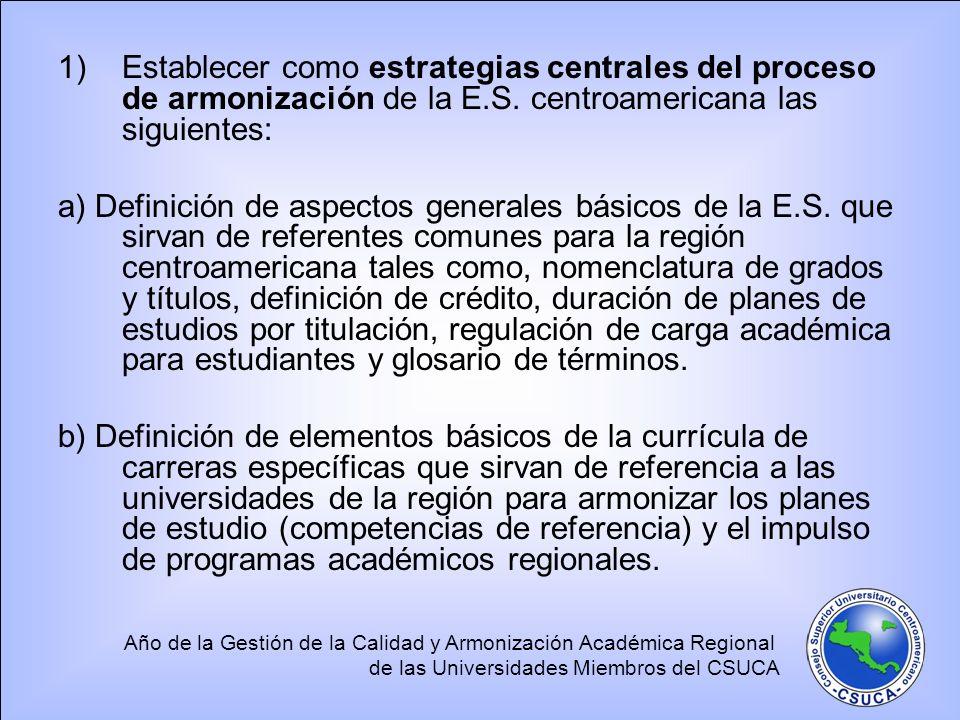 Año de la Gestión de la Calidad y Armonización Académica Regional de las Universidades Miembros del CSUCA 1)Establecer como estrategias centrales del proceso de armonización de la E.S.