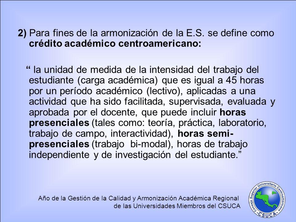 Año de la Gestión de la Calidad y Armonización Académica Regional de las Universidades Miembros del CSUCA 2) Para fines de la armonización de la E.S.