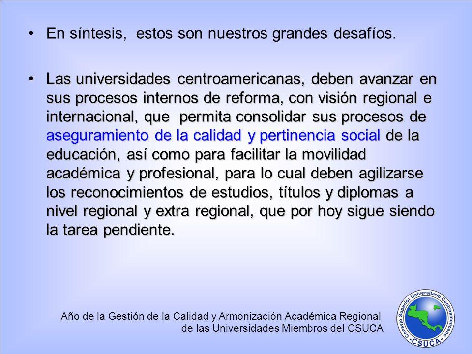 Año de la Gestión de la Calidad y Armonización Académica Regional de las Universidades Miembros del CSUCA En síntesis, estos son nuestros grandes desafíos.