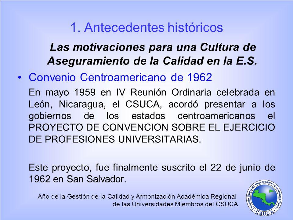 Año de la Gestión de la Calidad y Armonización Académica Regional de las Universidades Miembros del CSUCA Los gobiernos de Guatemala, El Salvador, Honduras y Costa Rica, depositaron en la ODECA sus respectivas ratificaciones.