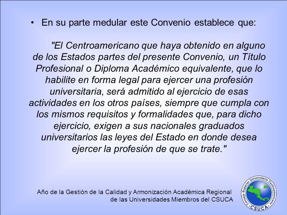 Año de la Gestión de la Calidad y Armonización Académica Regional de las Universidades Miembros del CSUCA 4.