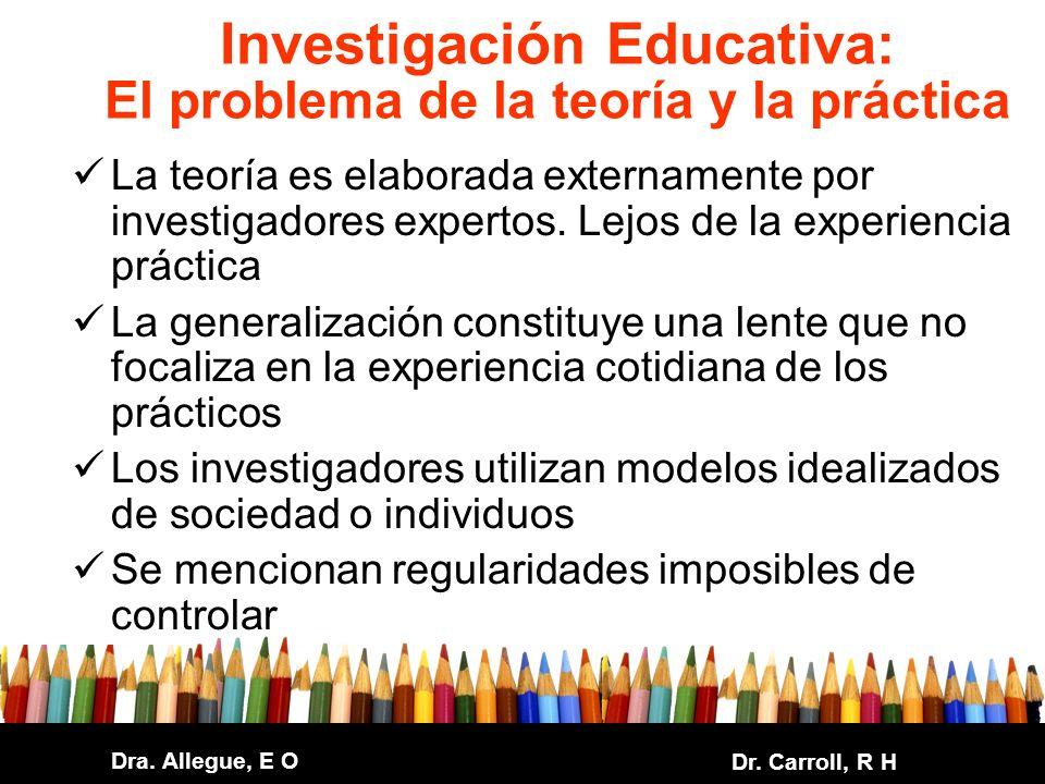 Dra. Allegue, E O Dr. Carroll, R H Investigación Educativa: El problema de la teoría y la práctica La teoría es elaborada externamente por investigado