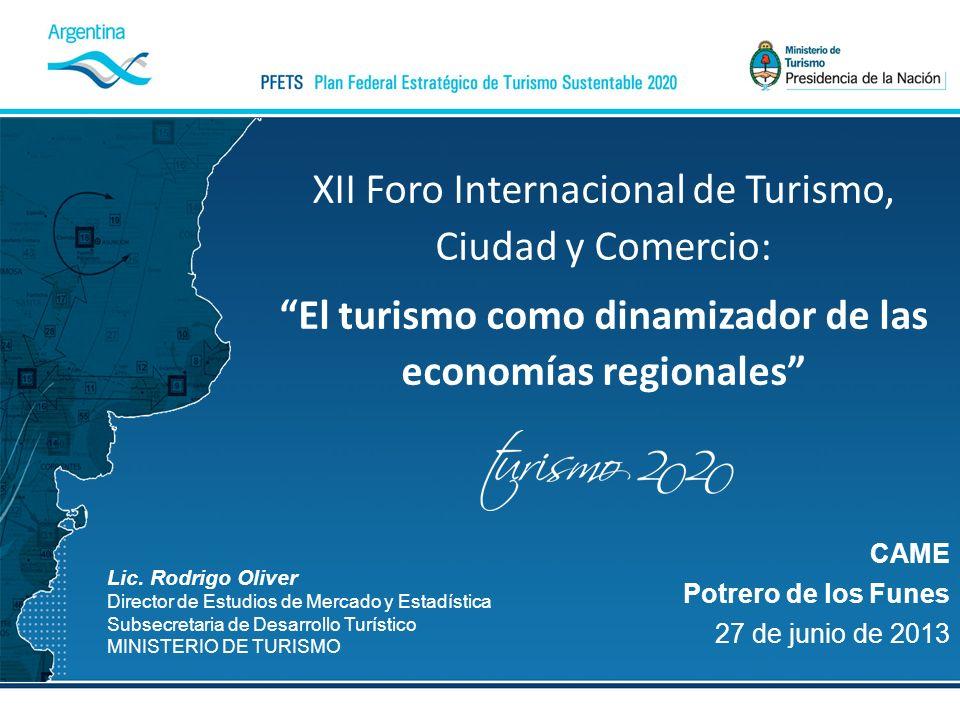 Lic. Rodrigo Oliver Director de Estudios de Mercado y Estadística Subsecretaria de Desarrollo Turístico MINISTERIO DE TURISMO CAME Potrero de los Fune