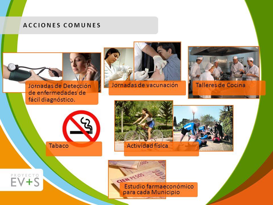 ACCIONES COMUNES Jornadas de Detección de enfermedades de fácil diagnóstico. Jornadas de vacunaciónTalleres de CocinaTabacoActividad física Estudio fa