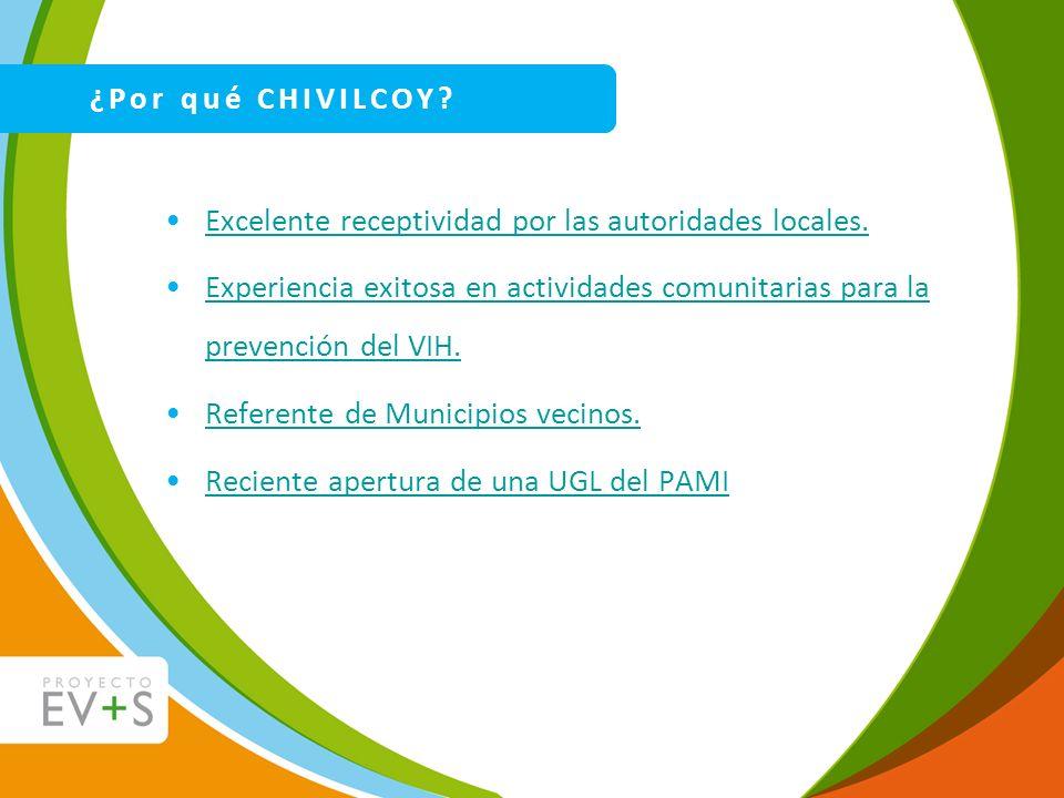 Excelente receptividad por las autoridades locales. Experiencia exitosa en actividades comunitarias para la prevención del VIH.Experiencia exitosa en