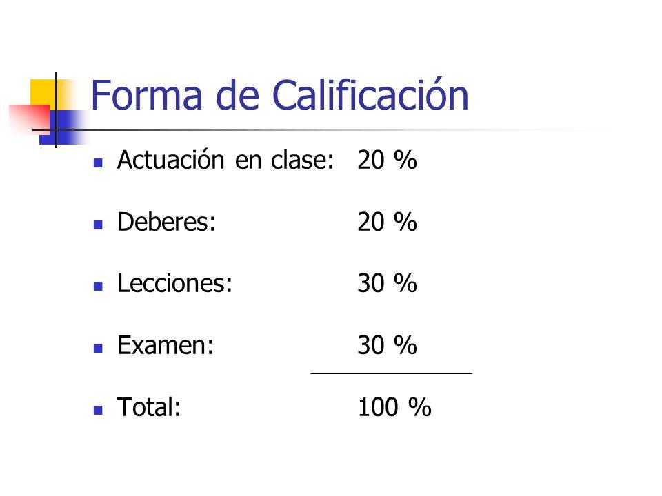 Forma de Calificación Actuación en clase:20 % Deberes:20 % Lecciones:30 % Examen:30 % Total:100 %
