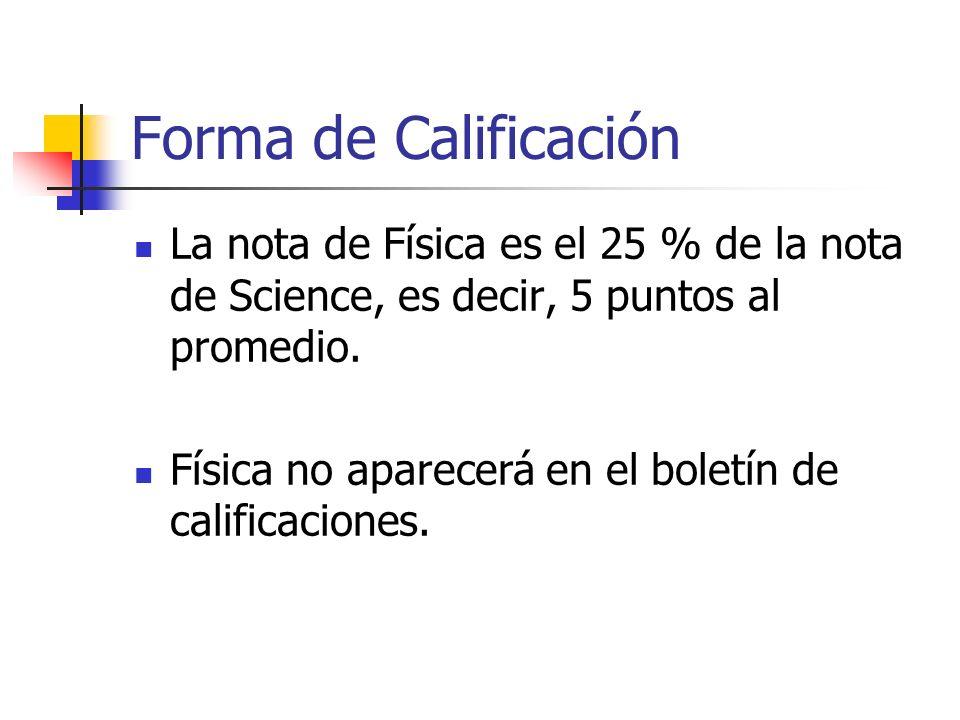 Forma de Calificación La nota de Física es el 25 % de la nota de Science, es decir, 5 puntos al promedio. Física no aparecerá en el boletín de calific