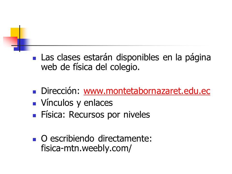 Las clases estarán disponibles en la página web de física del colegio. Dirección: www.montetabornazaret.edu.ecwww.montetabornazaret.edu.ec Vínculos y