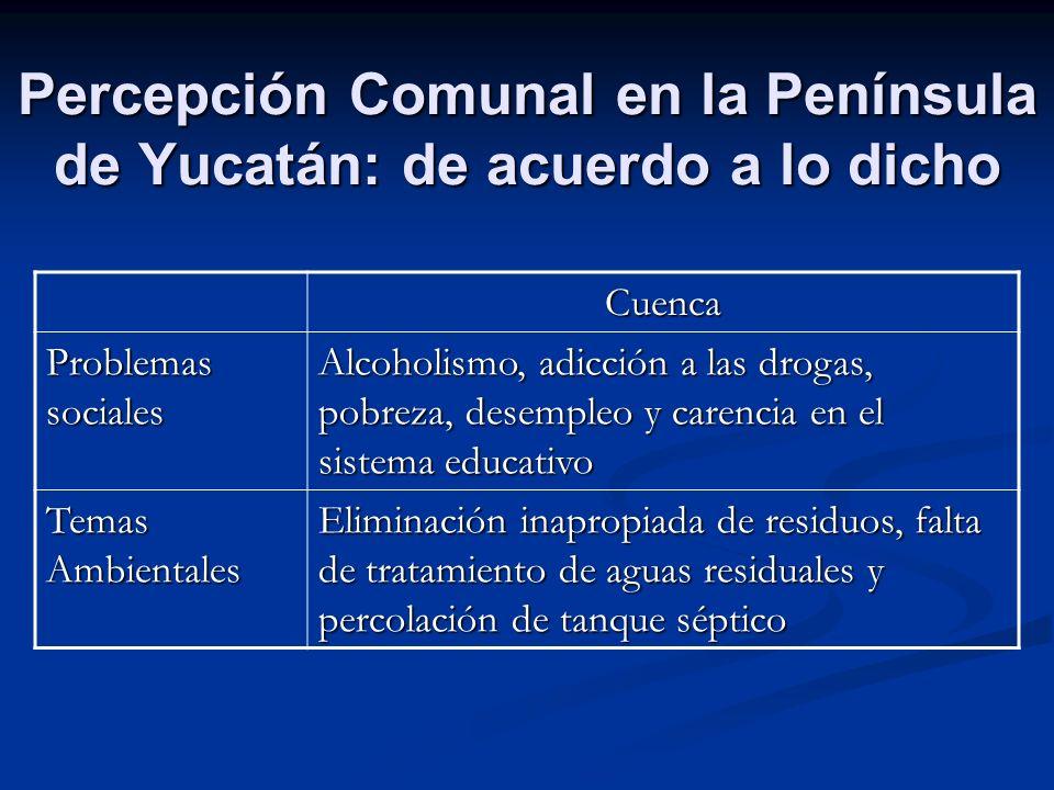 Percepción Comunal en la Península de Yucatán: de acuerdo a lo dicho Cuenca Problemas sociales Alcoholismo, adicción a las drogas, pobreza, desempleo