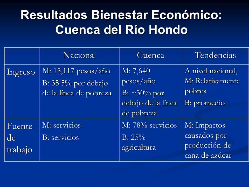 Resultados Bienestar Económico: Cuenca del Río Hondo NacionalCuencaTendencias Ingreso M: 15,117 pesos/año B: 35.5% por debajo de la línea de pobreza M
