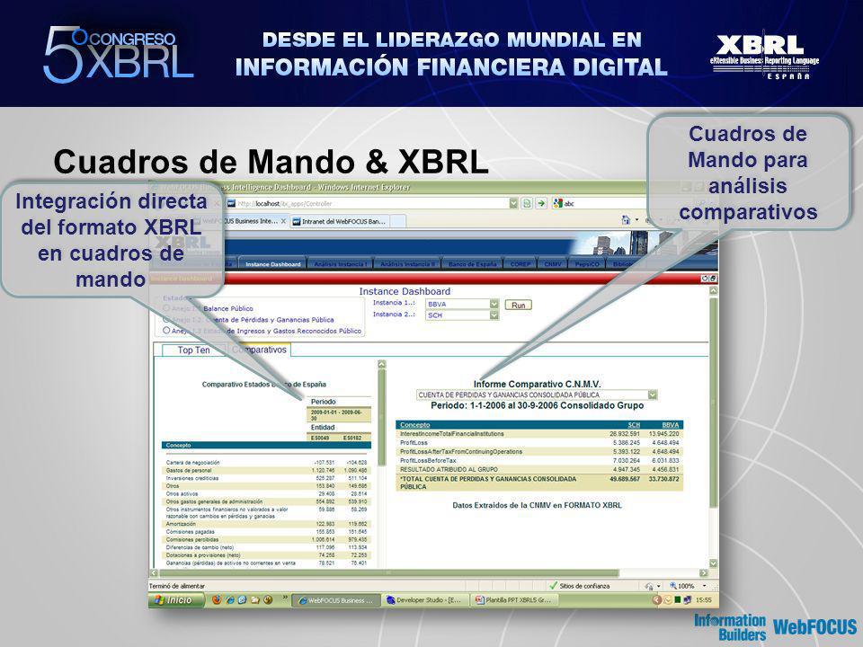 Cuadros de Mando & XBRL Cuadros de Mando para análisis comparativos Integración directa del formato XBRL en cuadros de mando