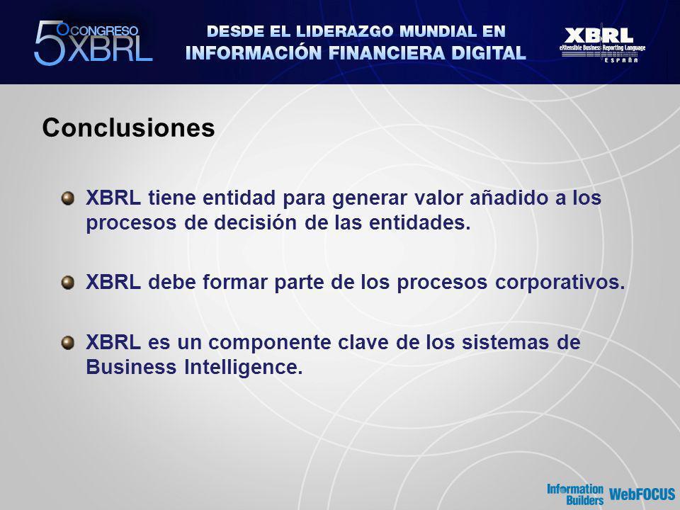Conclusiones XBRL tiene entidad para generar valor añadido a los procesos de decisión de las entidades.