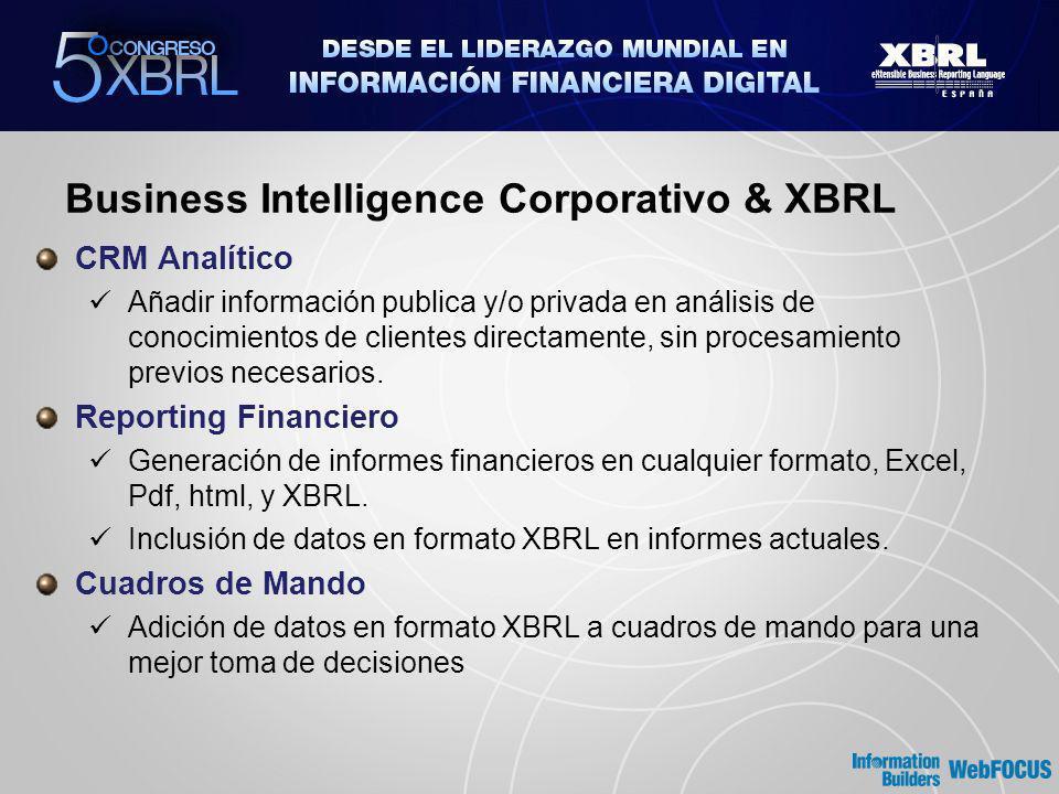 Business Intelligence Corporativo & XBRL CRM Analítico Añadir información publica y/o privada en análisis de conocimientos de clientes directamente, sin procesamiento previos necesarios.