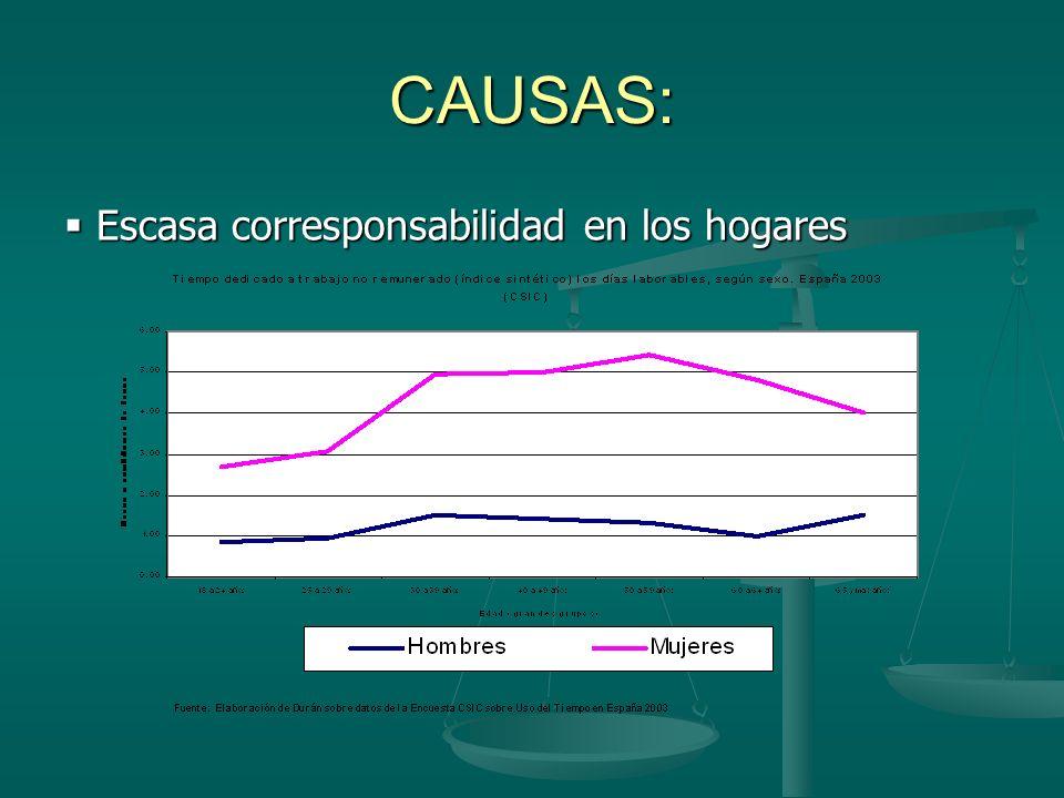 Escasa corresponsabilidad en los hogares Escasa corresponsabilidad en los hogares CAUSAS: