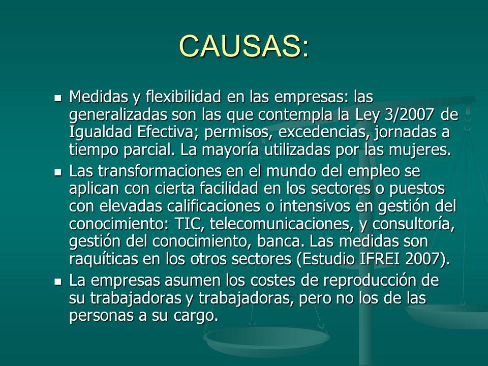 CAUSAS: Medidas y flexibilidad en las empresas: las generalizadas son las que contempla la Ley 3/2007 de Igualdad Efectiva; permisos, excedencias, jornadas a tiempo parcial.