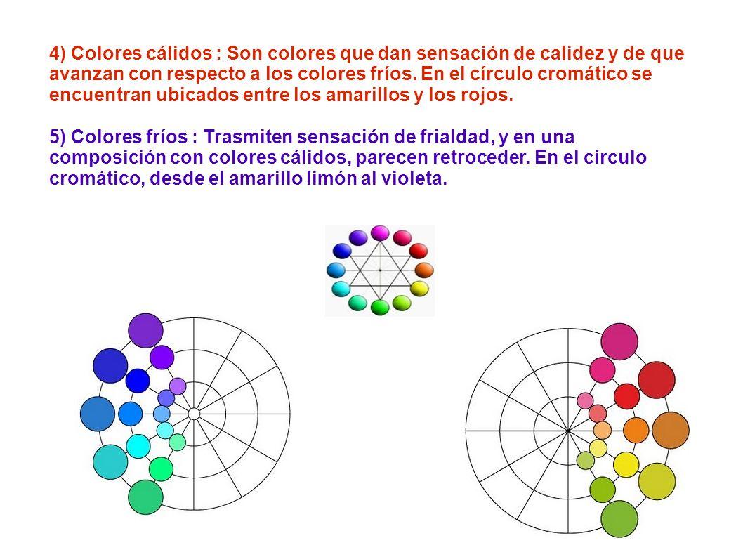 4) Colores cálidos : Son colores que dan sensación de calidez y de que avanzan con respecto a los colores fríos. En el círculo cromático se encuentran