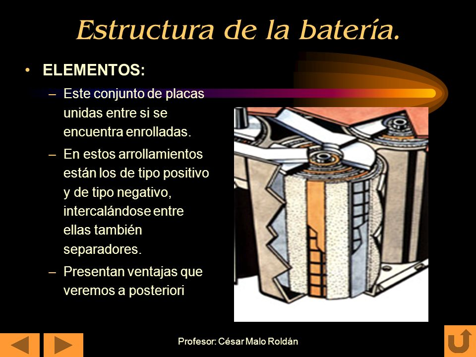 Profesor: César Malo Roldán Estructura de la batería. ELEMENTOS: –Conjunto de placas unidas entre si por conectores. –Pueden ser de tipo positivo y de