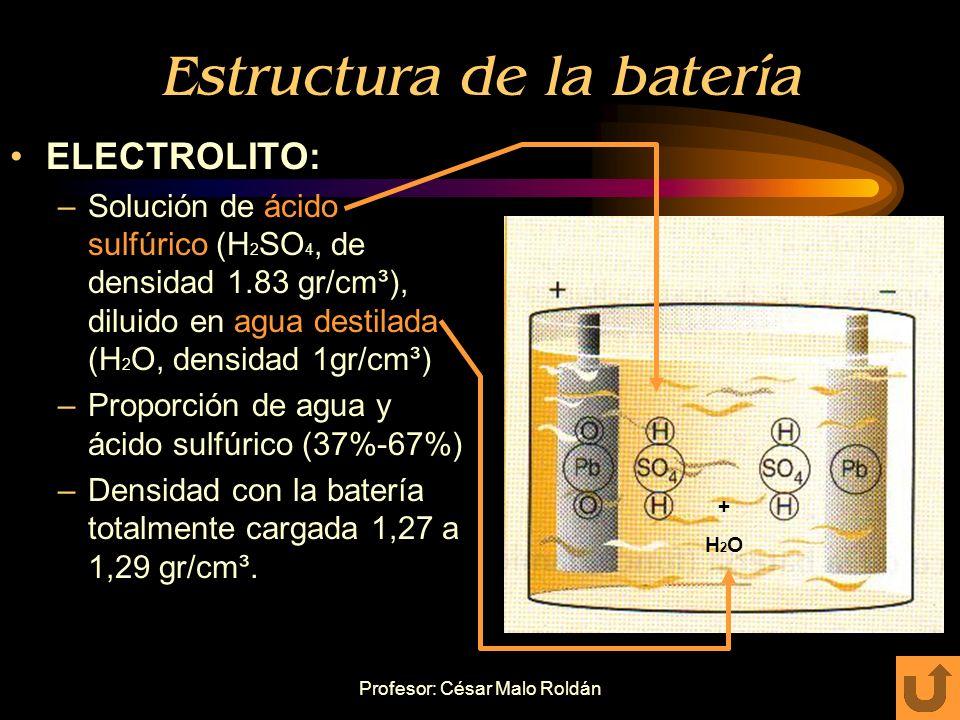 Profesor: César Malo Roldán Estructura de la batería. ELEMENTOS: –Los de un vaso se comunican EN SERIE con los elementos del vaso contiguo a través de
