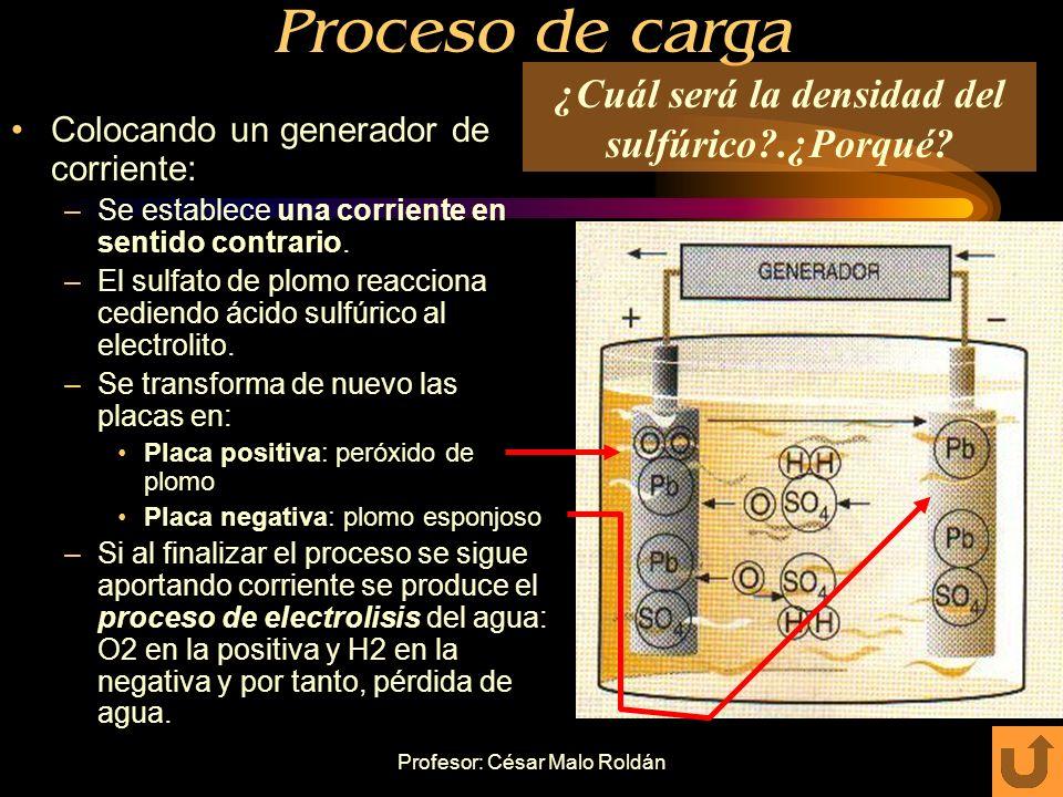 Profesor: César Malo Roldán Descarga total Cuando termina de descargase la batería: – la materia activa está formada casi en su totalidad por sulfato